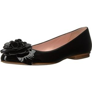 Kate spade pointed black patent leather flat shoes